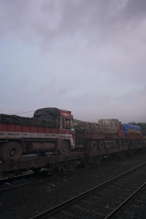 Free stock photo of rails, trucks on rails