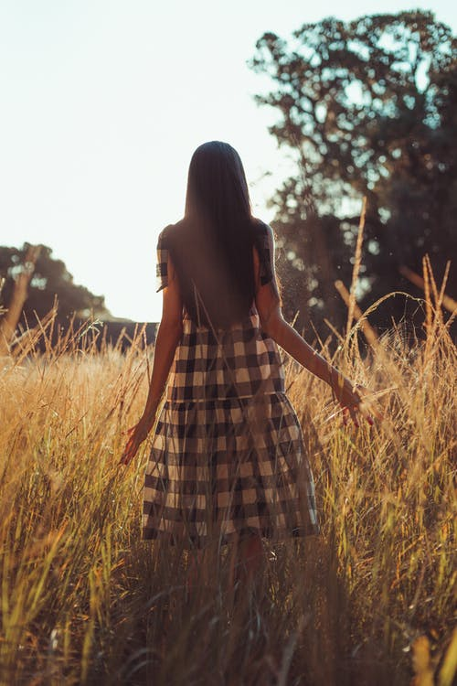 Woman in Black and White Plaid Dress Standing on Brown Grass Field
