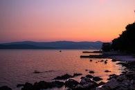 sea, mountains, sunset