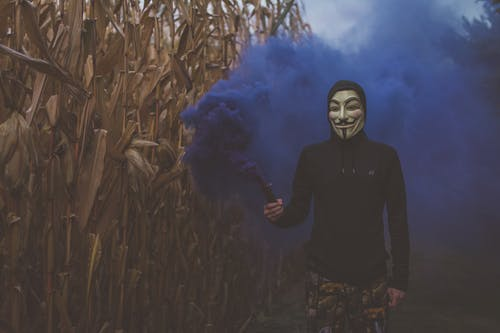 Person Wearing Guy Fawkes Mask while Holding a Blue Smoke Bomb