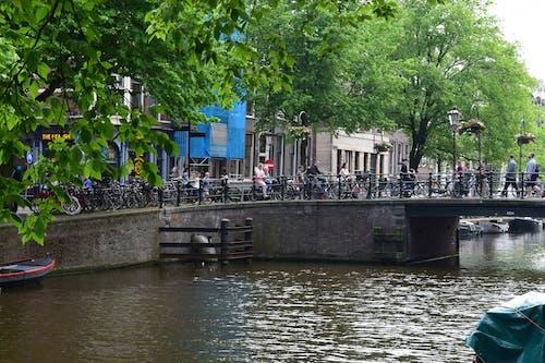 People Walking on Gray Concrete Bridge over River
