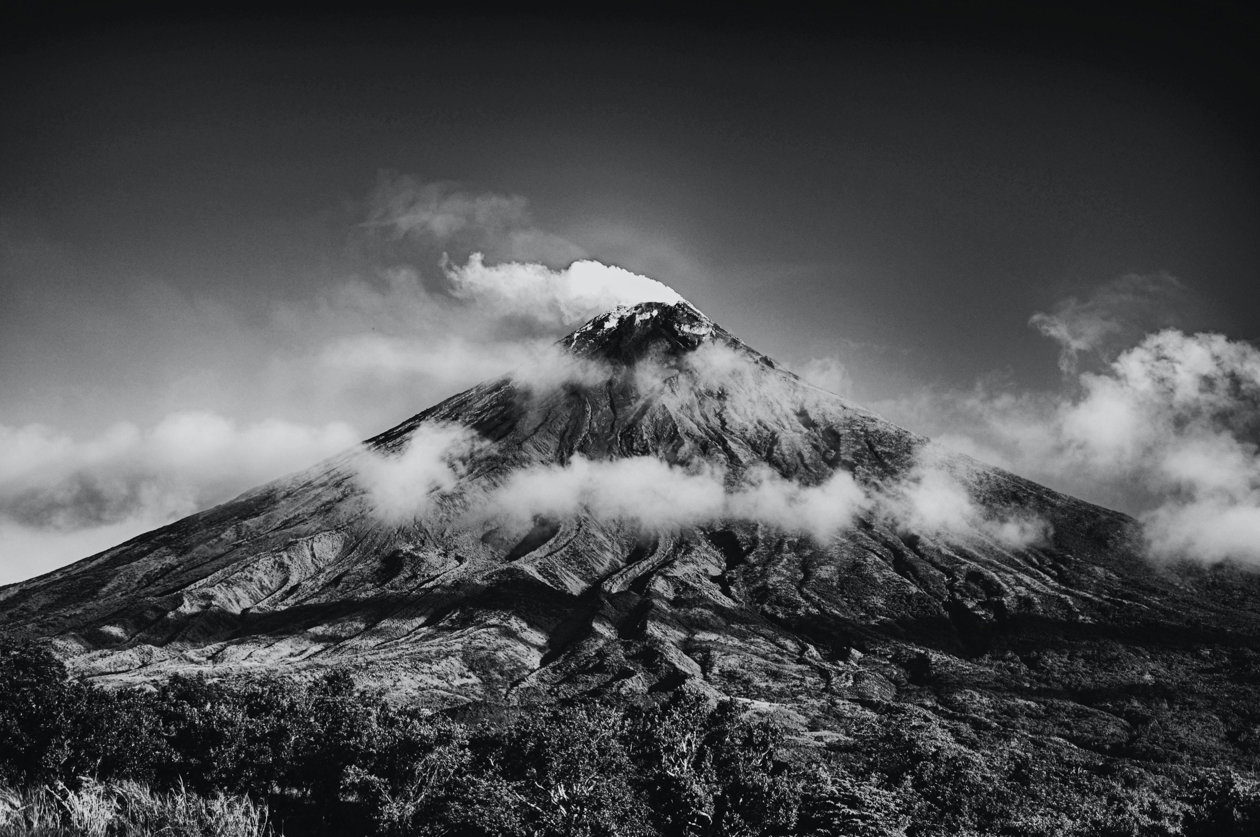 Grayscale photo of volcano · free stock photo