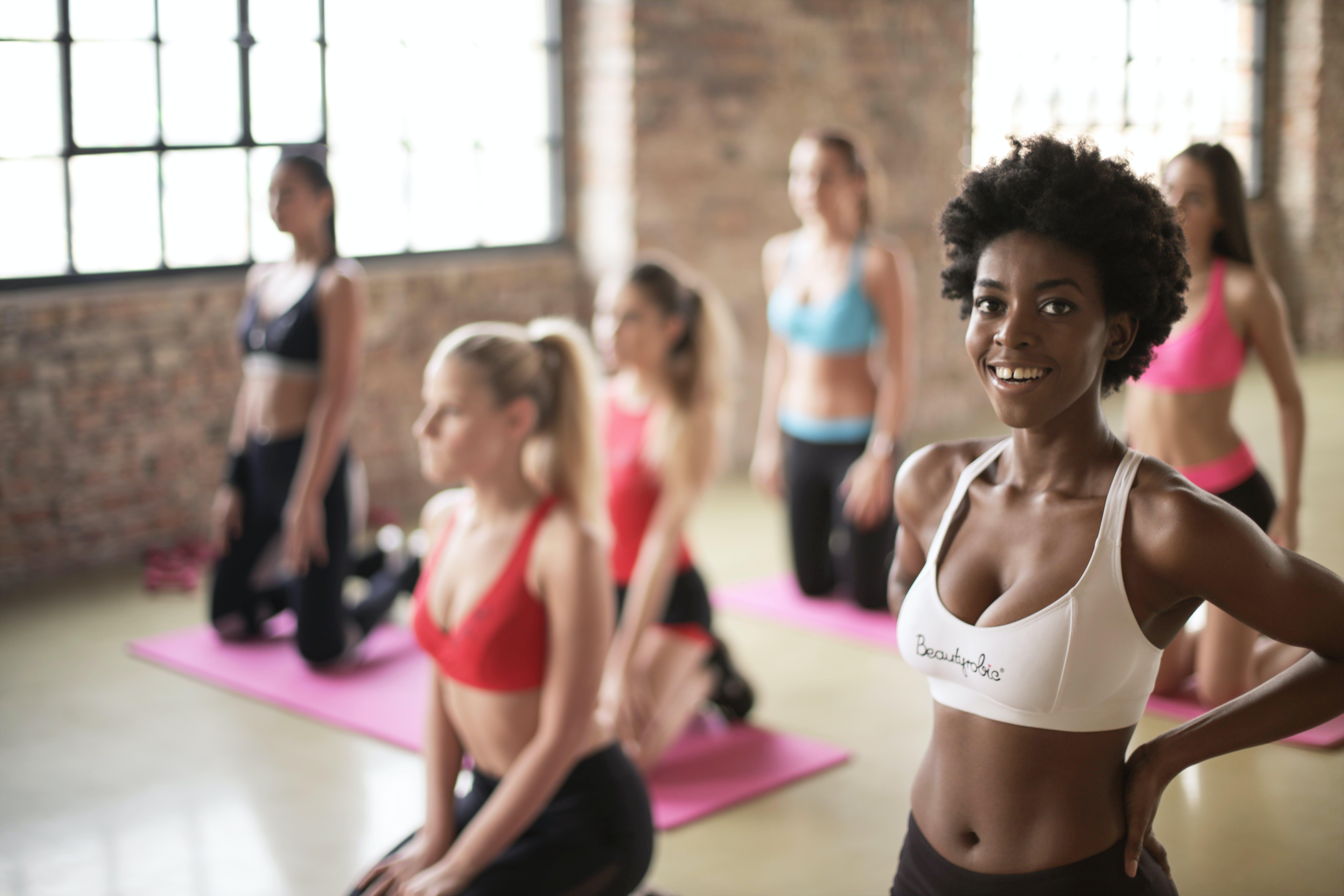 Six Women Wearing Assorted-color Sport Brassieres