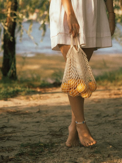 Hand Holding Basket Bag with Yellow Fruits