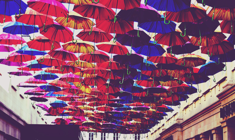 Red, Blue, and Orange Umbrella Lot