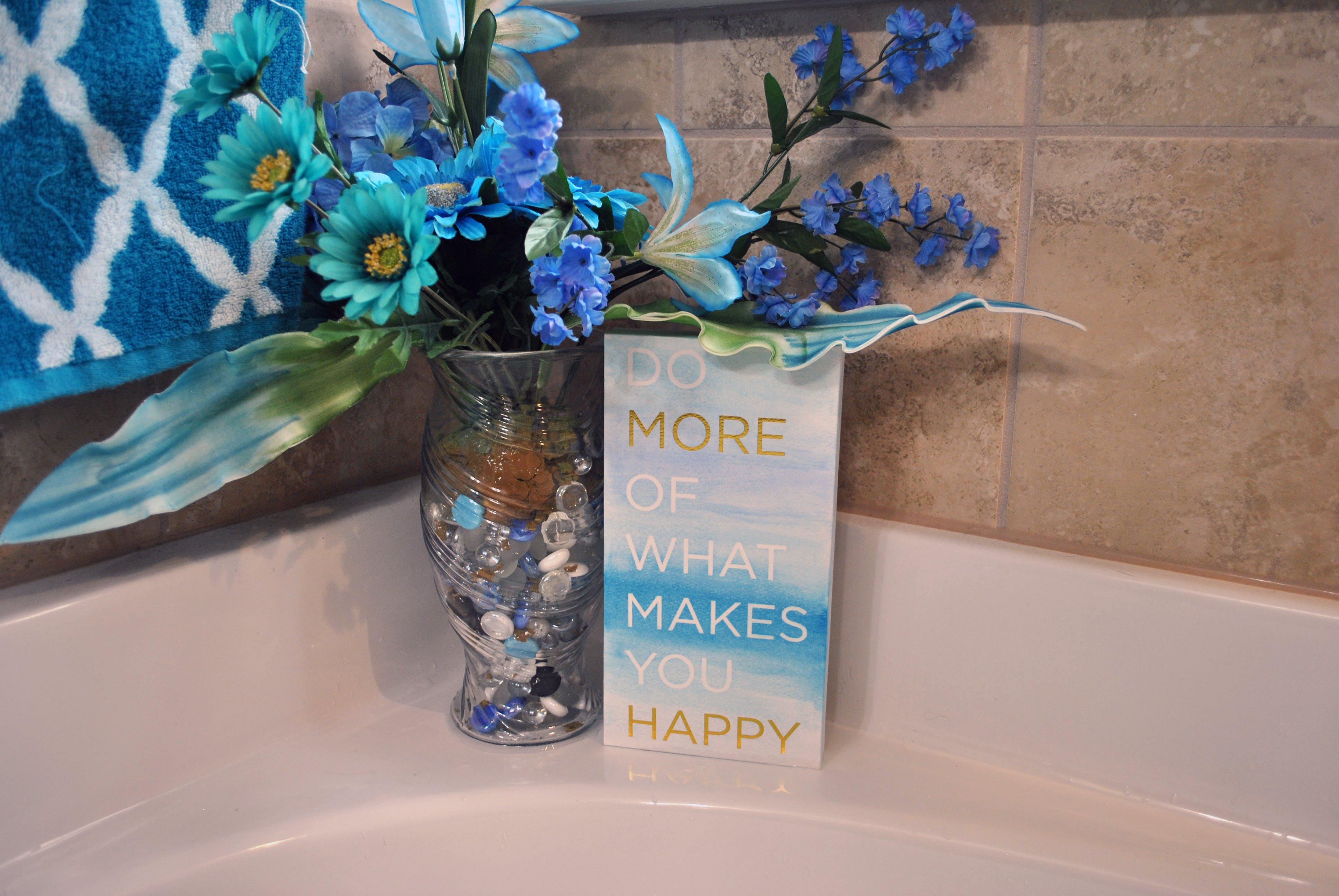 Free stock photo of quote, vase, bathtub, blue flower