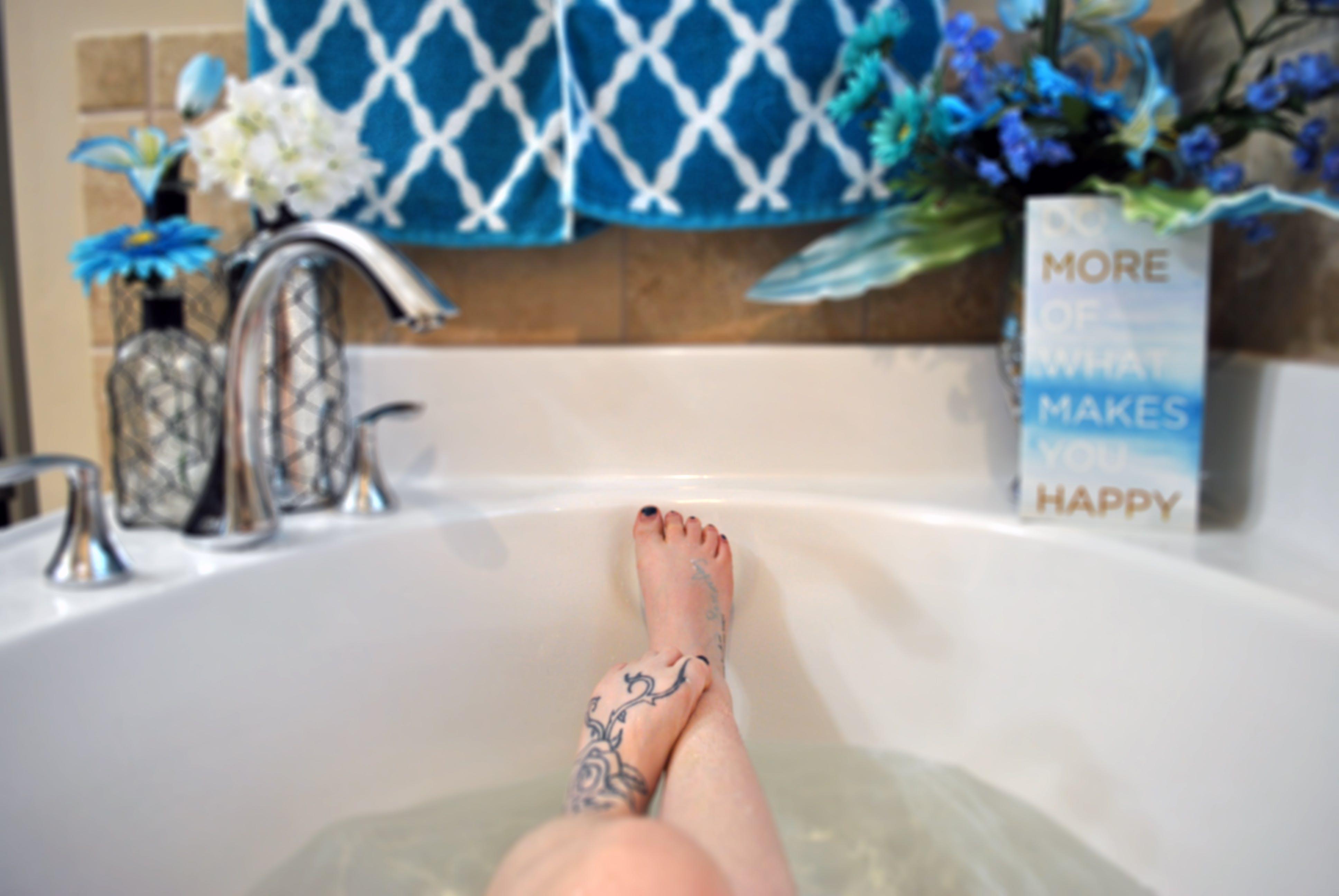 Free stock photo of feet, water, flowers, girl