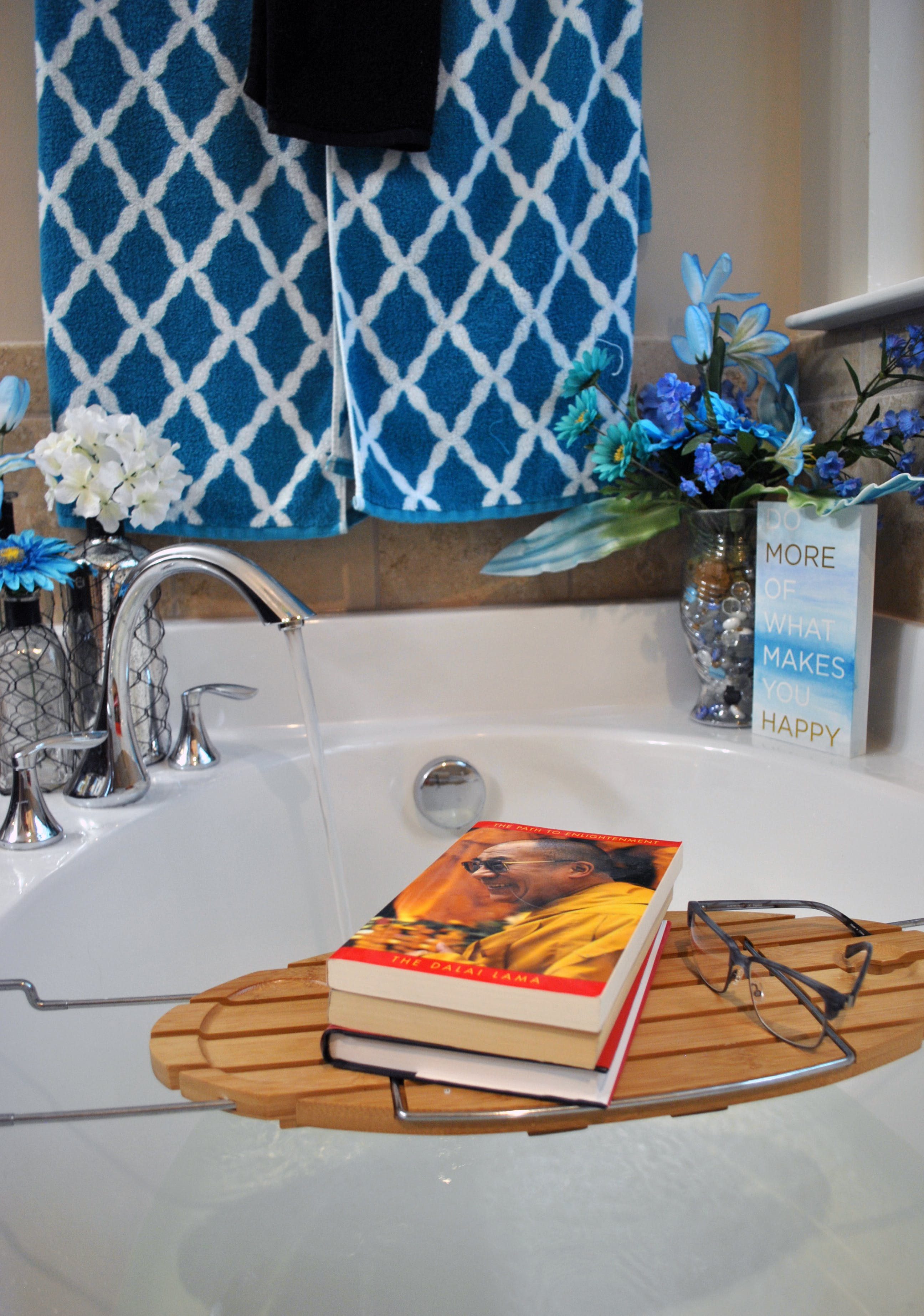 Free stock photo of books, glasses, quote, bath
