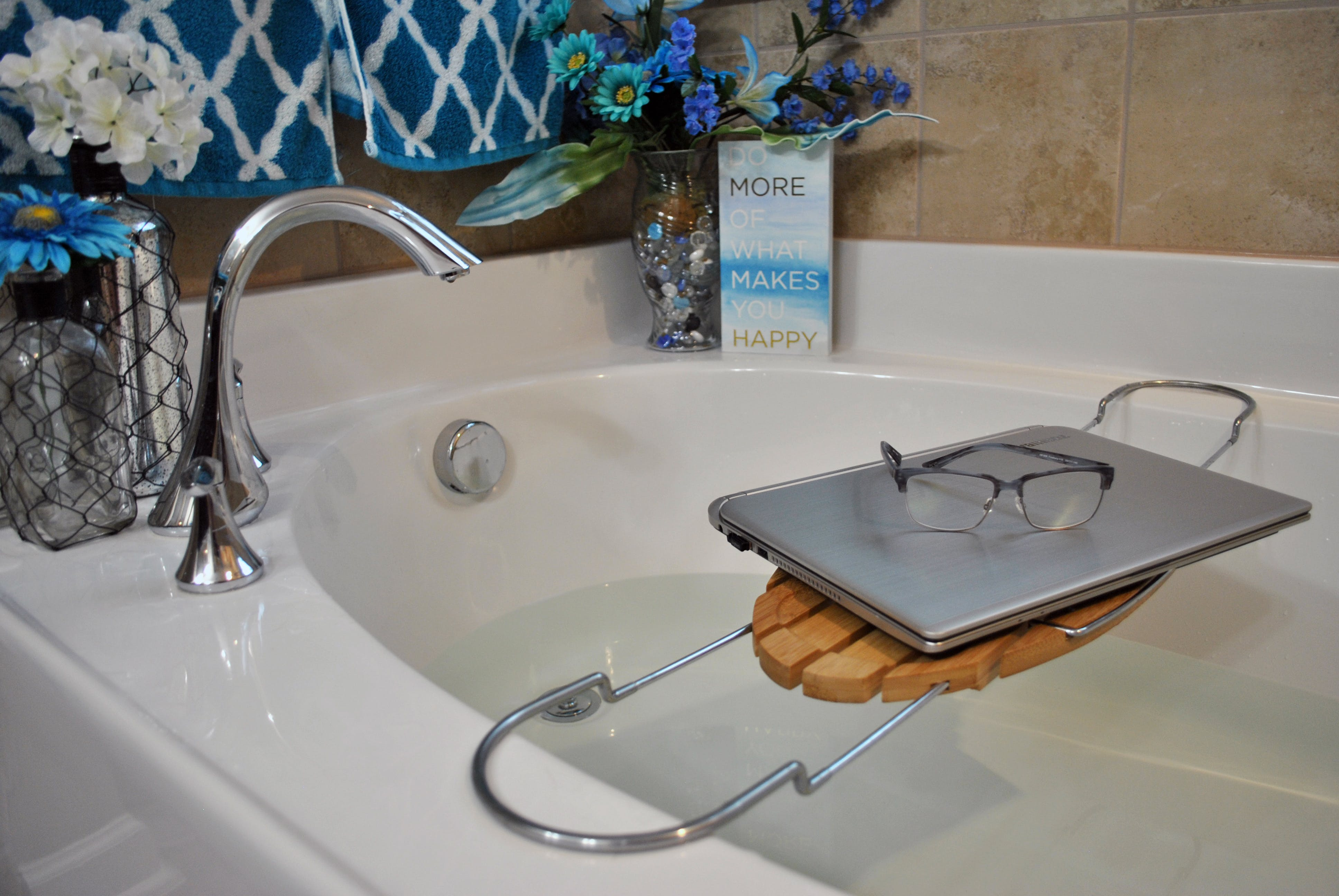 Free stock photo of water, laptop, glasses, bath