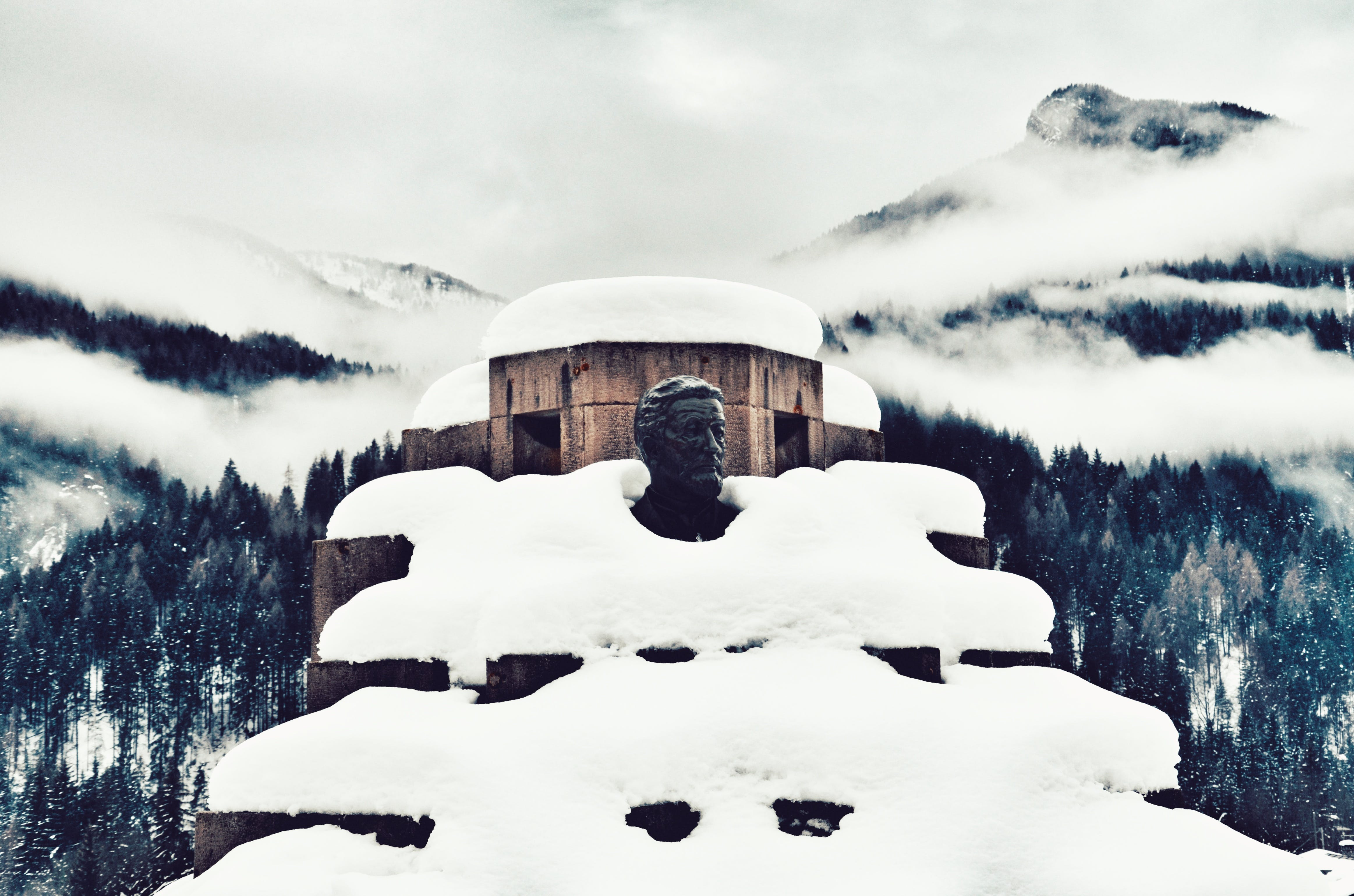 Snow Covered Monument