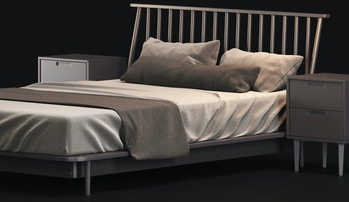 White and Gray Bed Linen on Bed