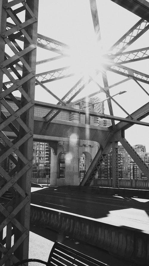 Free stock photo of black and white city, bridge, british columbia