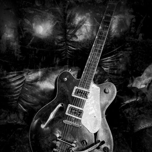 Free stock photo of black and white, electric guitar, Gretsch, grunge