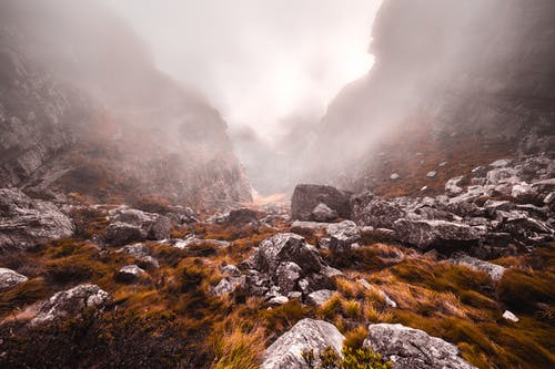 Gray Stones in Grassy Mountains during Foggy Day