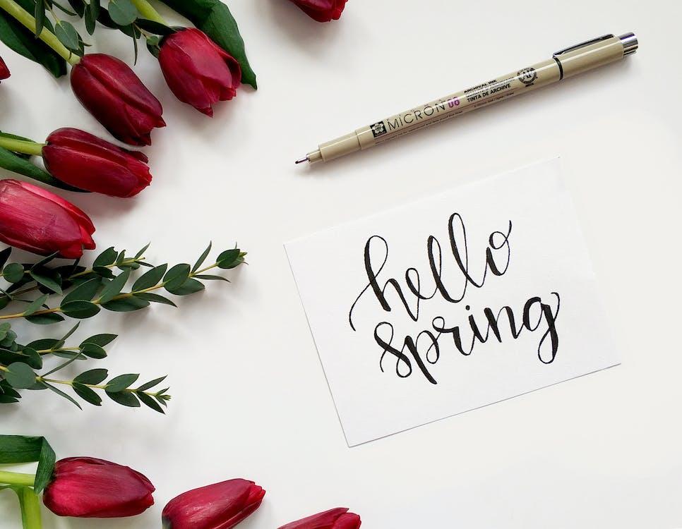 こんにちは春の手書きの紙