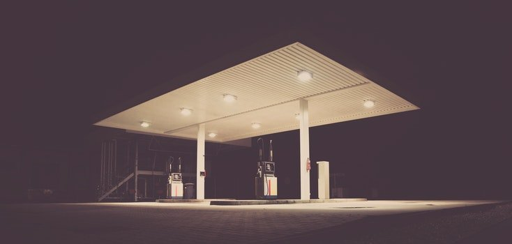 Gasoline Station during Night Time