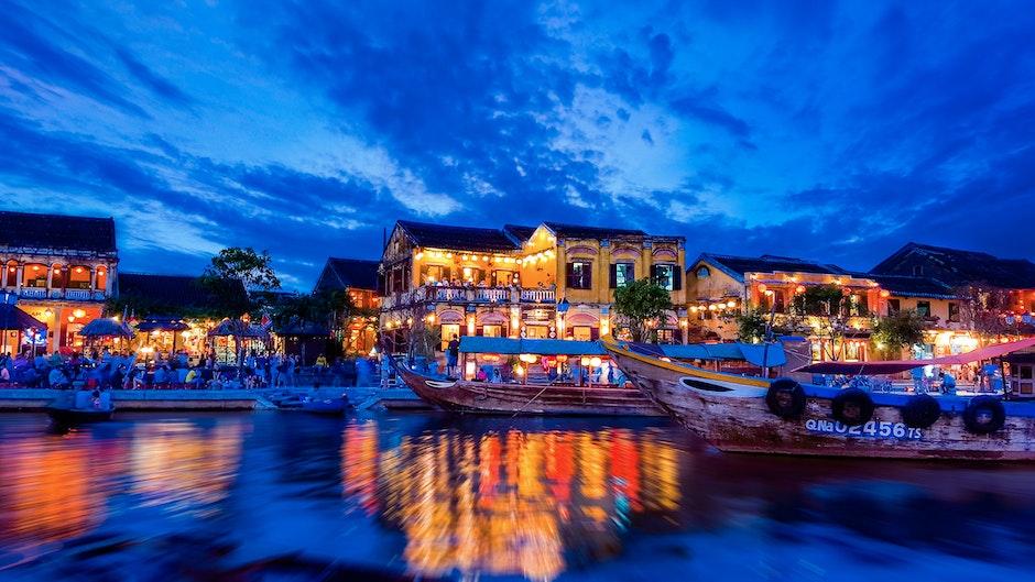 boats, hội an, lights
