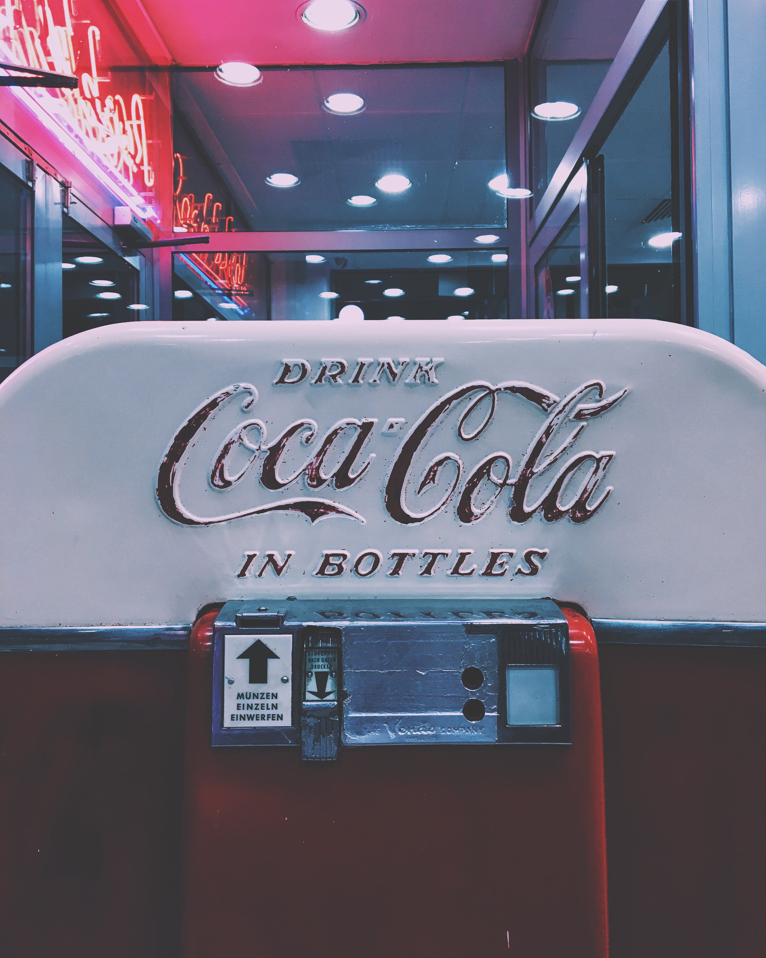 Red and White Drink Coca-cola in Bottle Dispenser