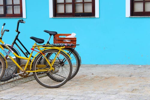 Free stock photo of beach, bicycle, primary colors, saturation
