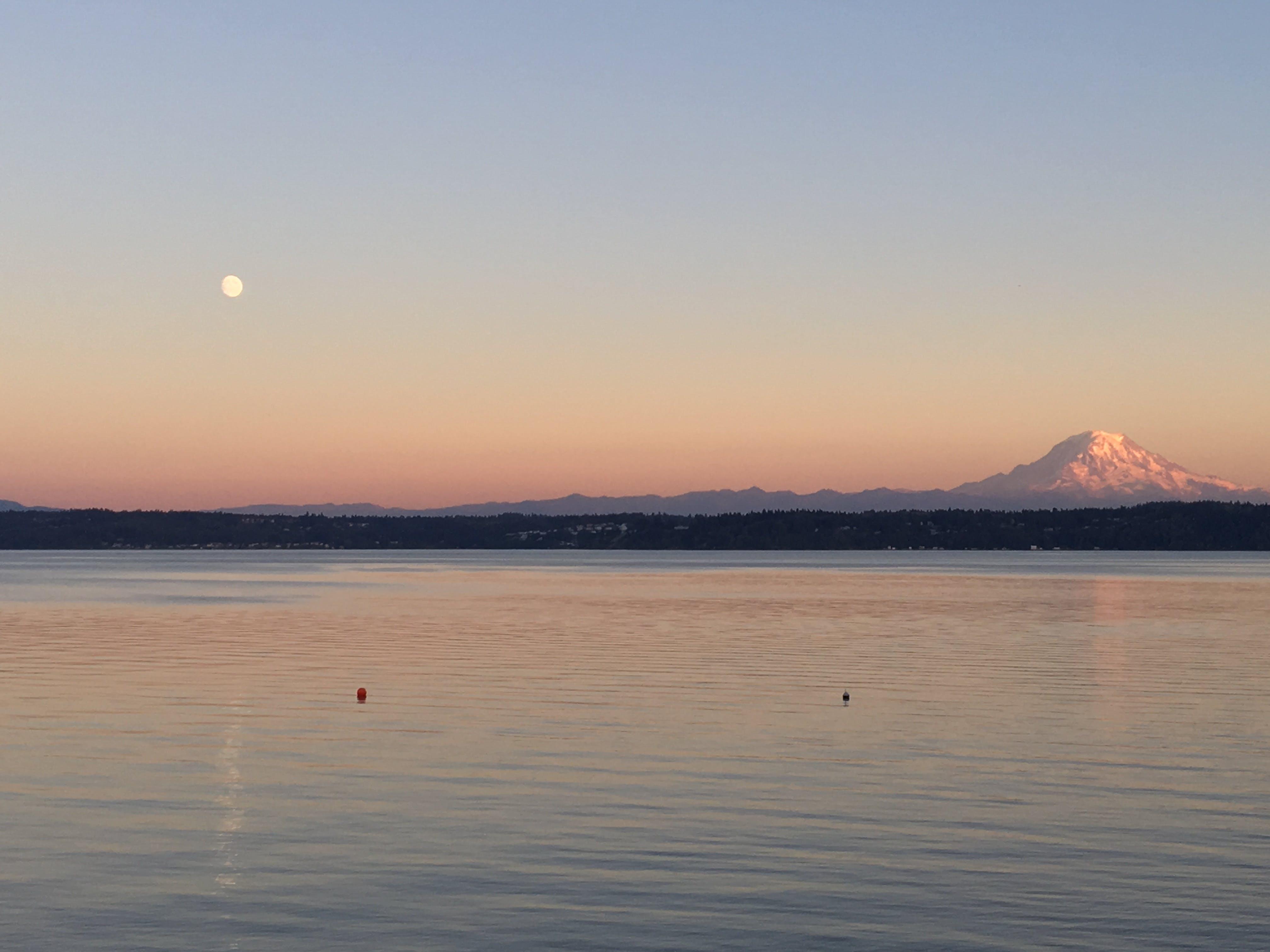 Free stock photo of moon, Mount Rainer, mountain, ocean