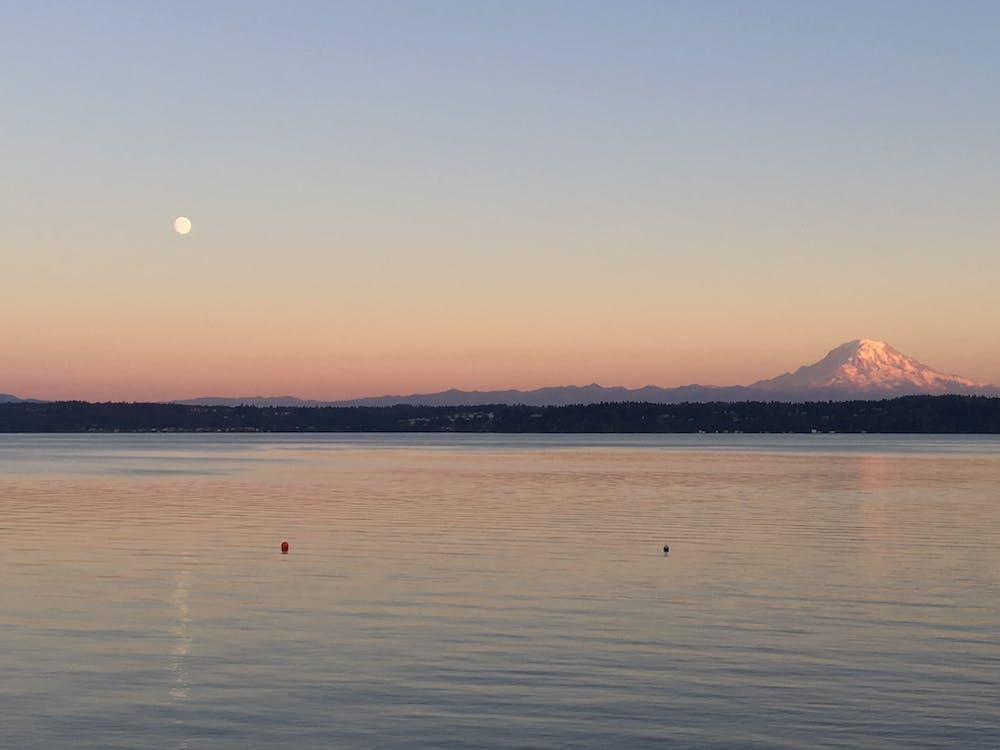 eau, lune, montagne