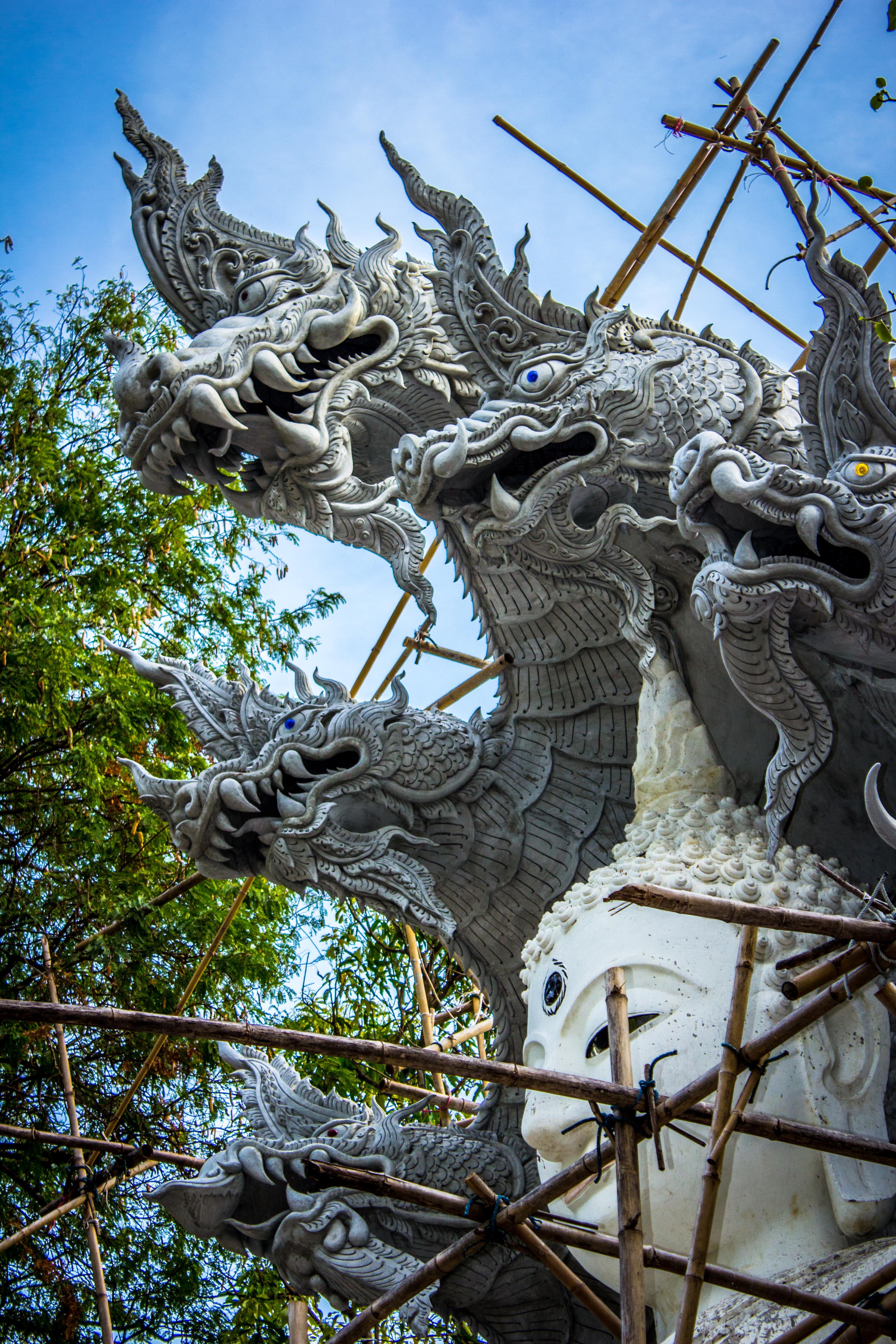 White Buddha With Dragon Concrete Statue E