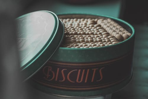 Green Steel Container With Biscuits Lot