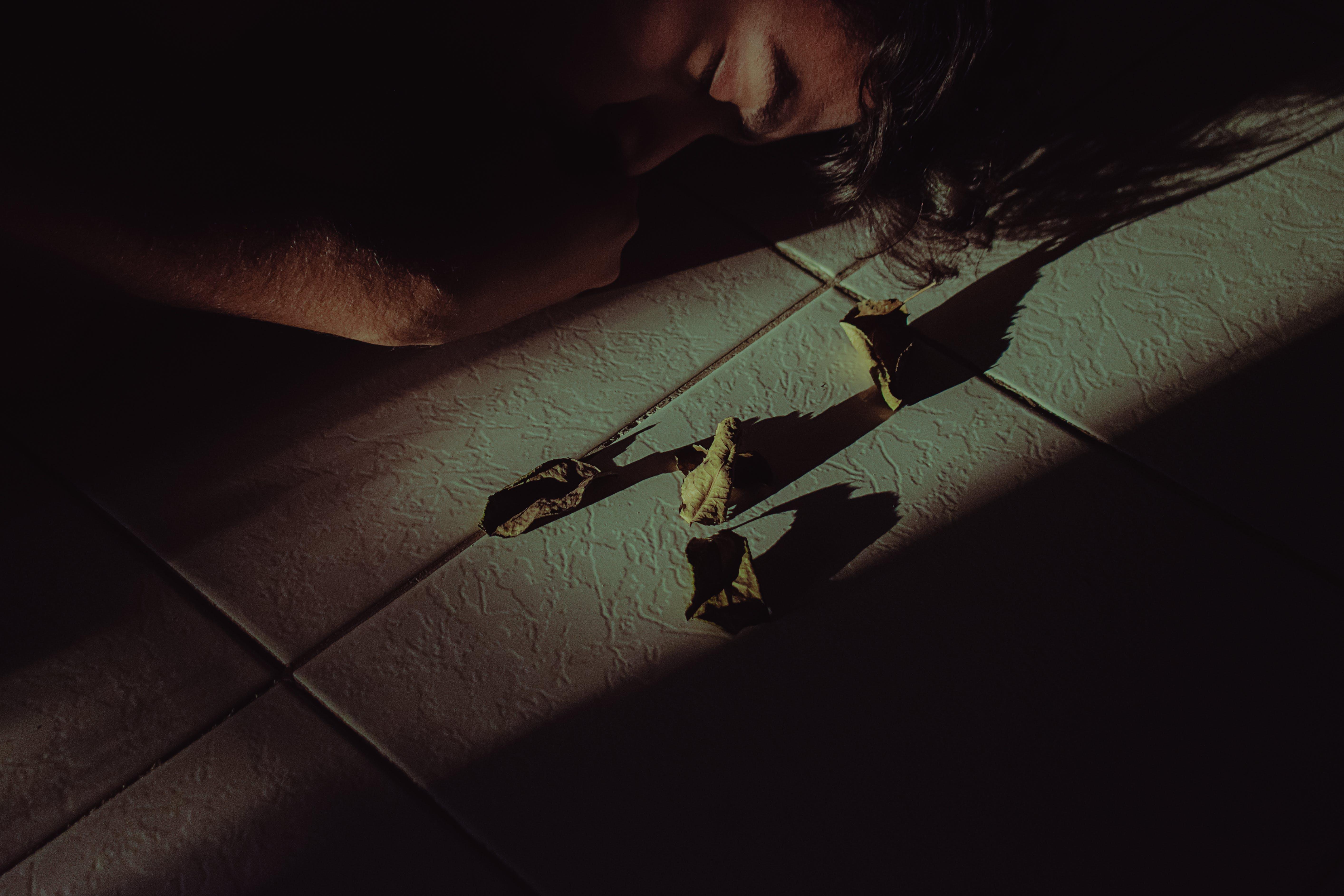 Person Sleeping Beside Dead Leaves