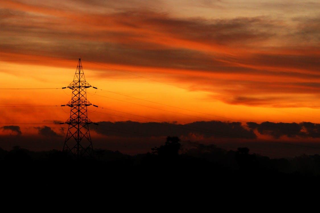 dramatický, elektrický sloup, hora