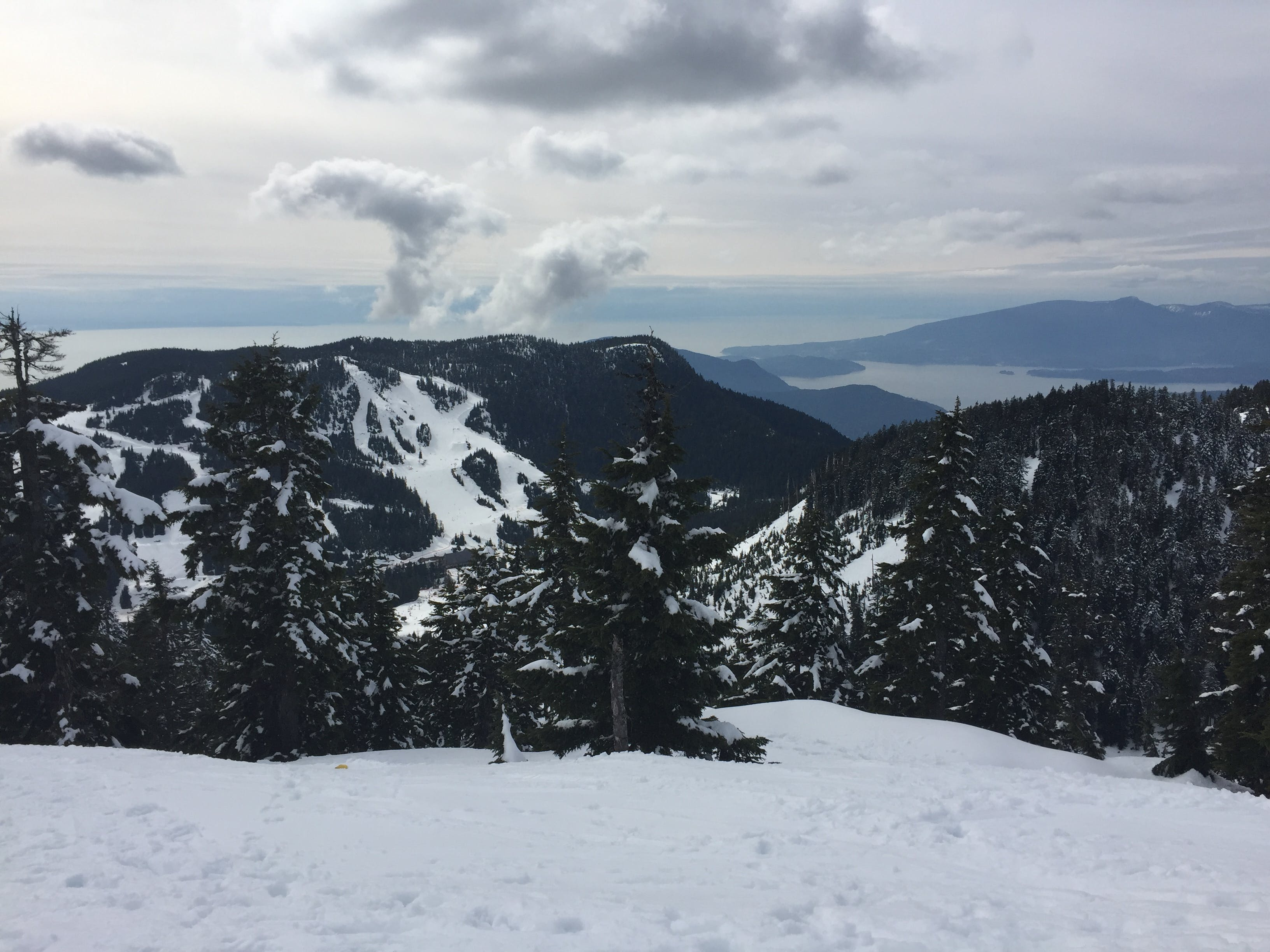 High Altitude View of Snowy Mountain during Daytime