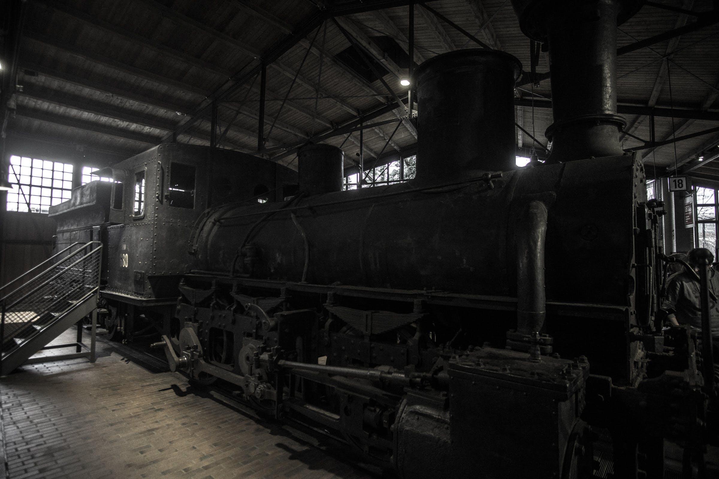 Free stock photo of dark, desaturated, steam locomotive