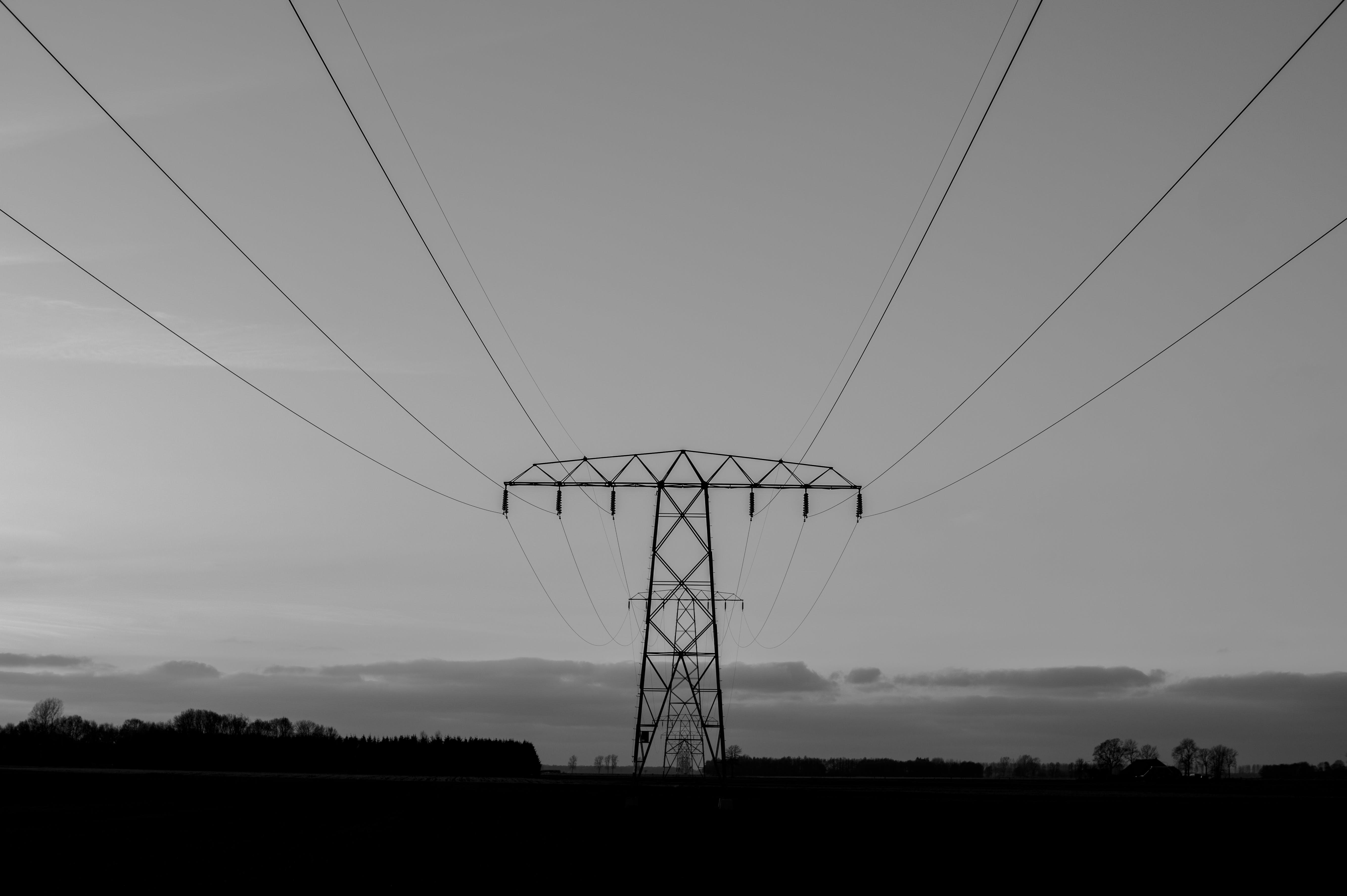 Free stock photo of black-and-white, electricity, energy, pylon