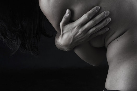 Grayscale Photograph of Person Naked