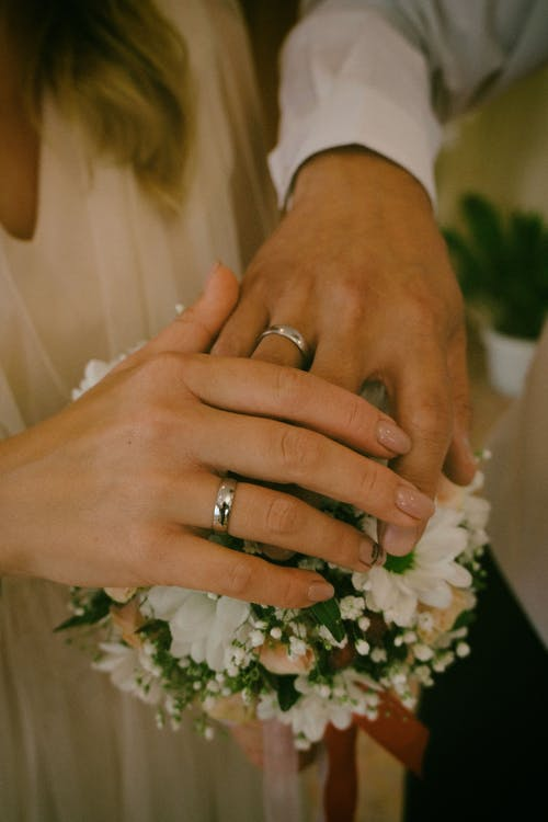 Hands of a Couple Wearing Wedding Rings