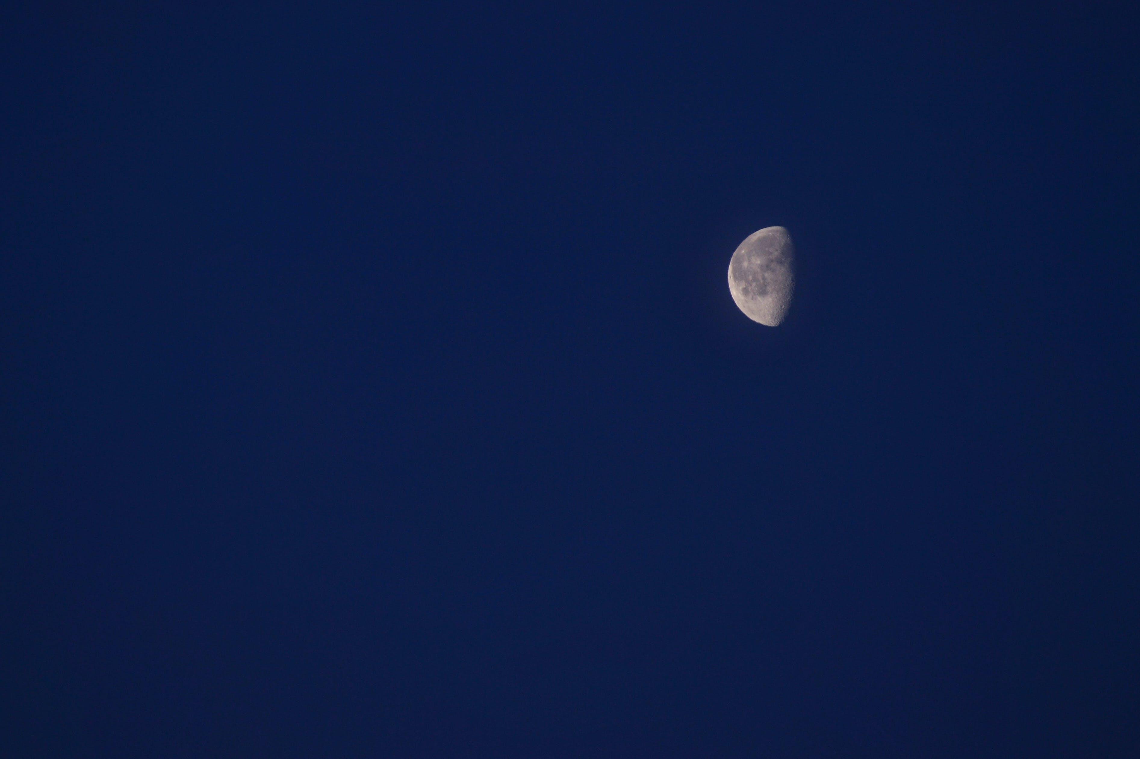 Half Moon Under Clear Blue Sky