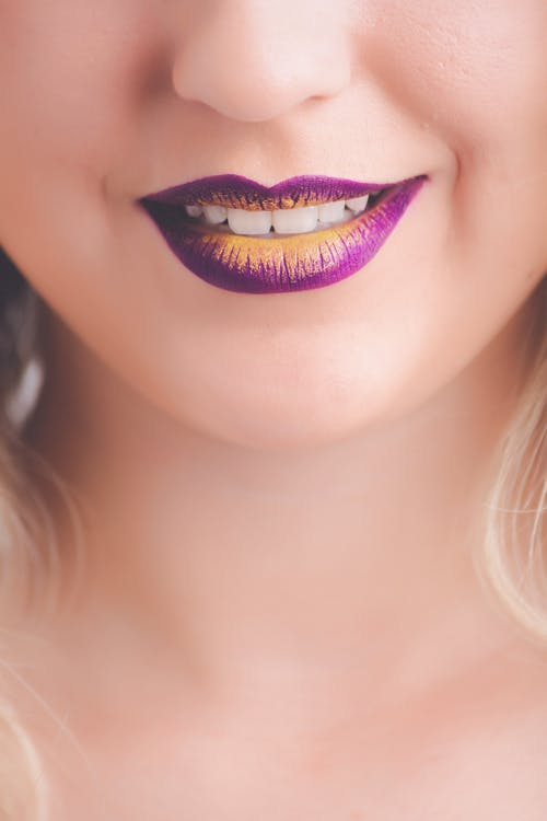 Women's Purple and Yellow Lips