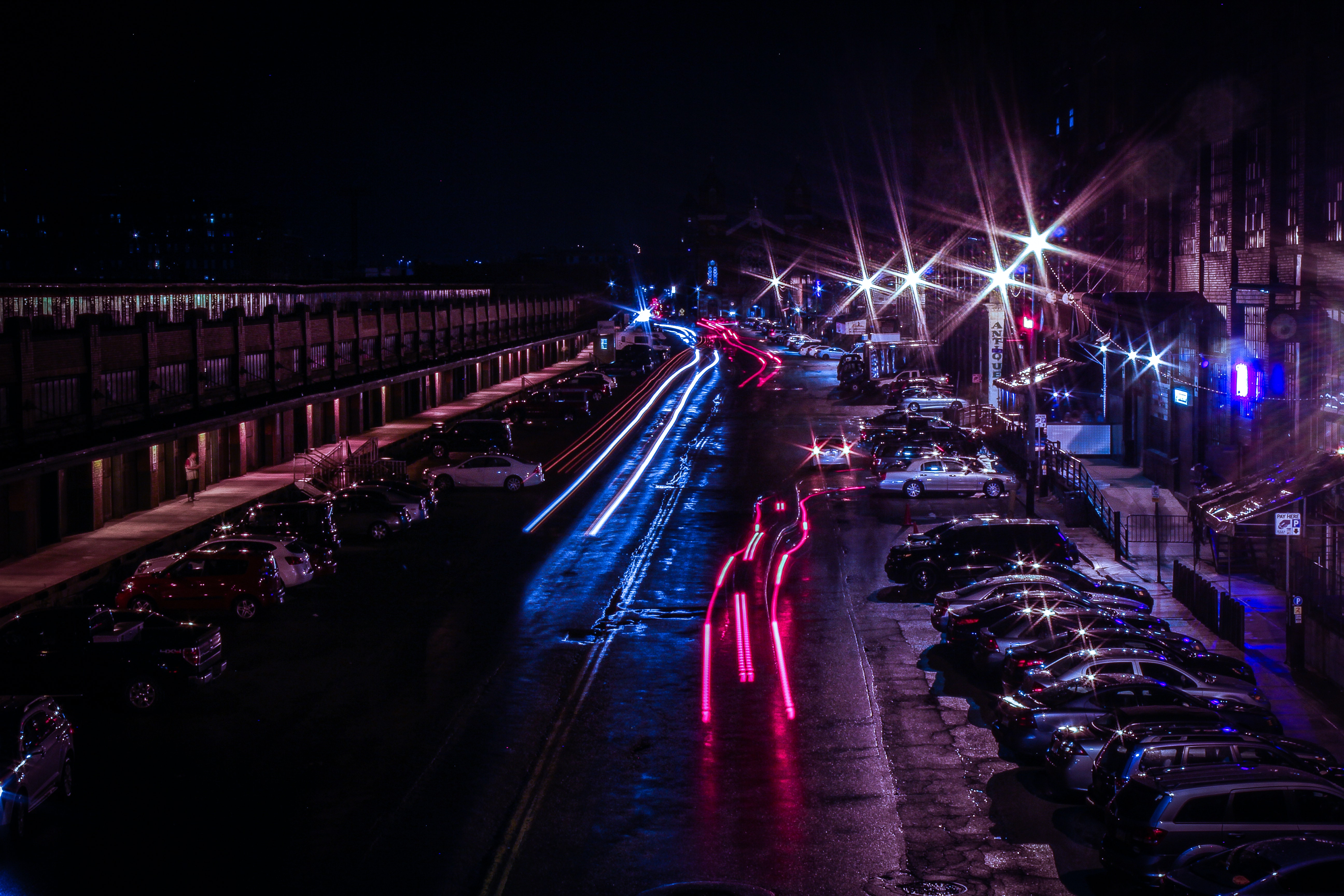Light Reflecting from Wet Pavement · Free Stock Photo