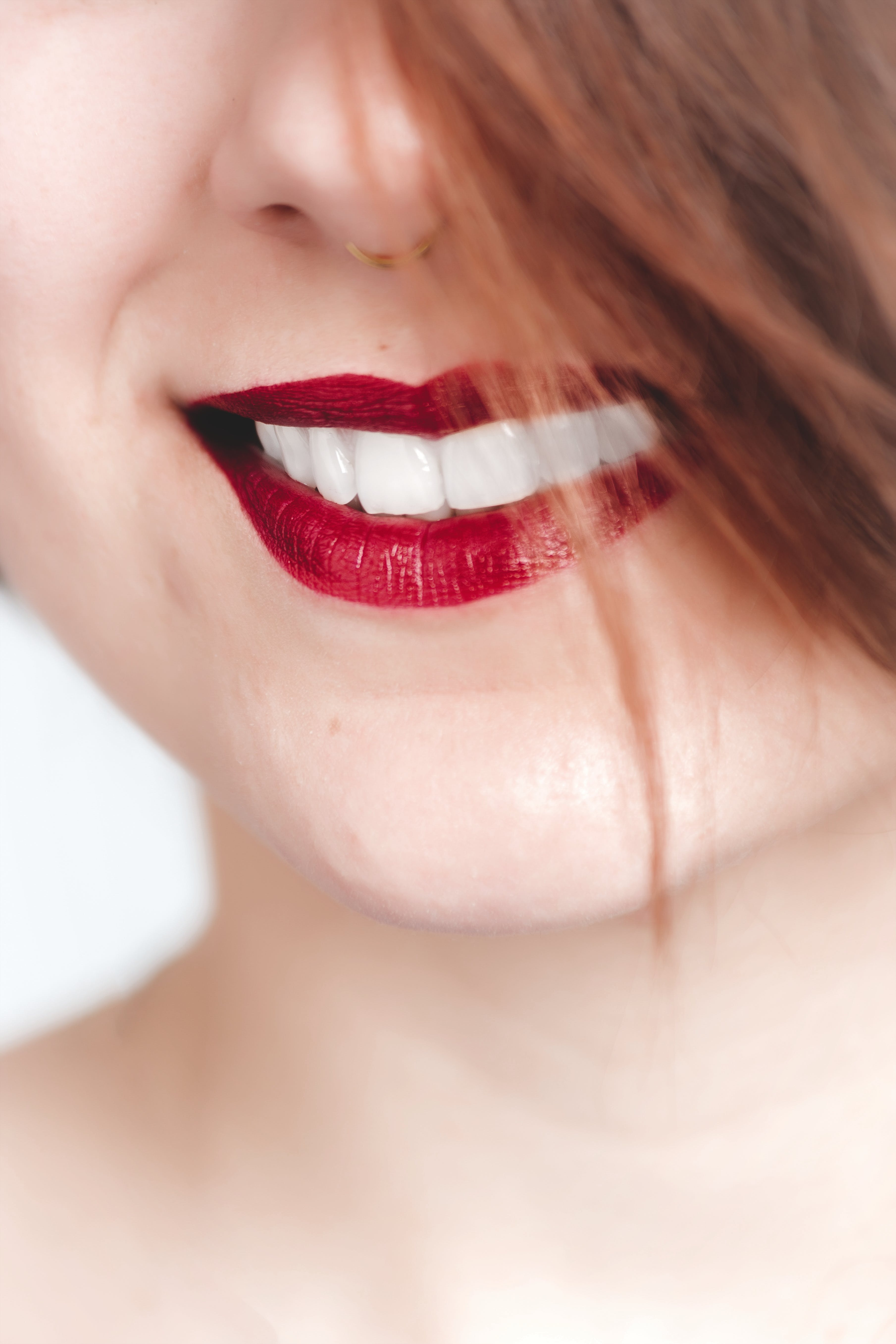 Close Up Photography of Woman With Red Lips