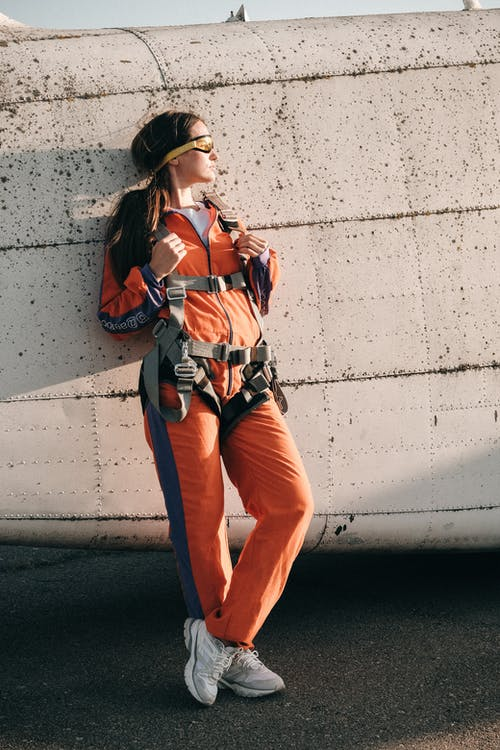 Full Shot of Woman in Parachuting Jumpsuit