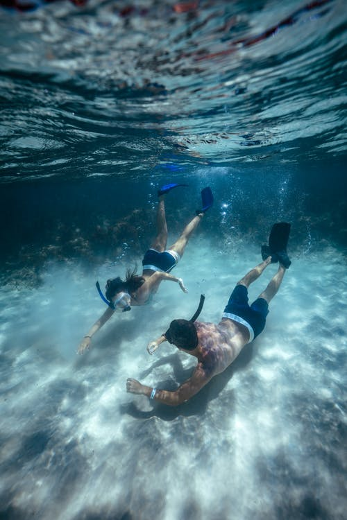 2 Men in Black Shorts Swimming in Water
