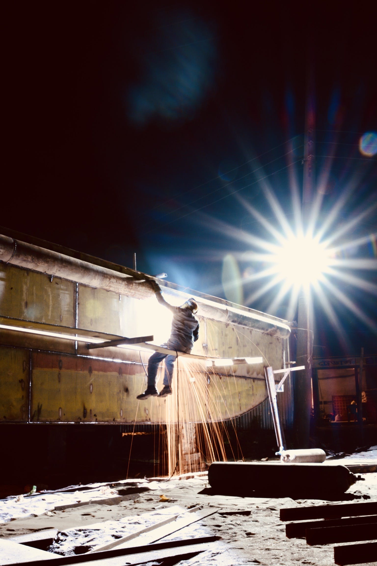 Free stock photo of construction workers, exposure, night life, night lights