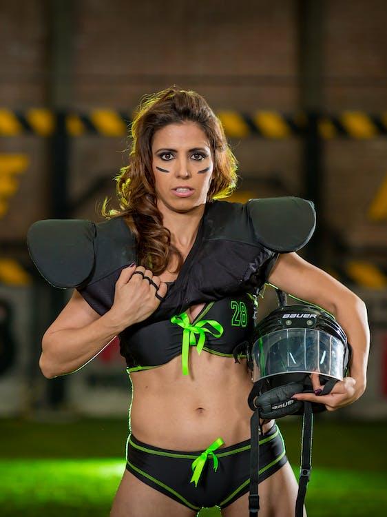Woman Wearing Shoulder Pads