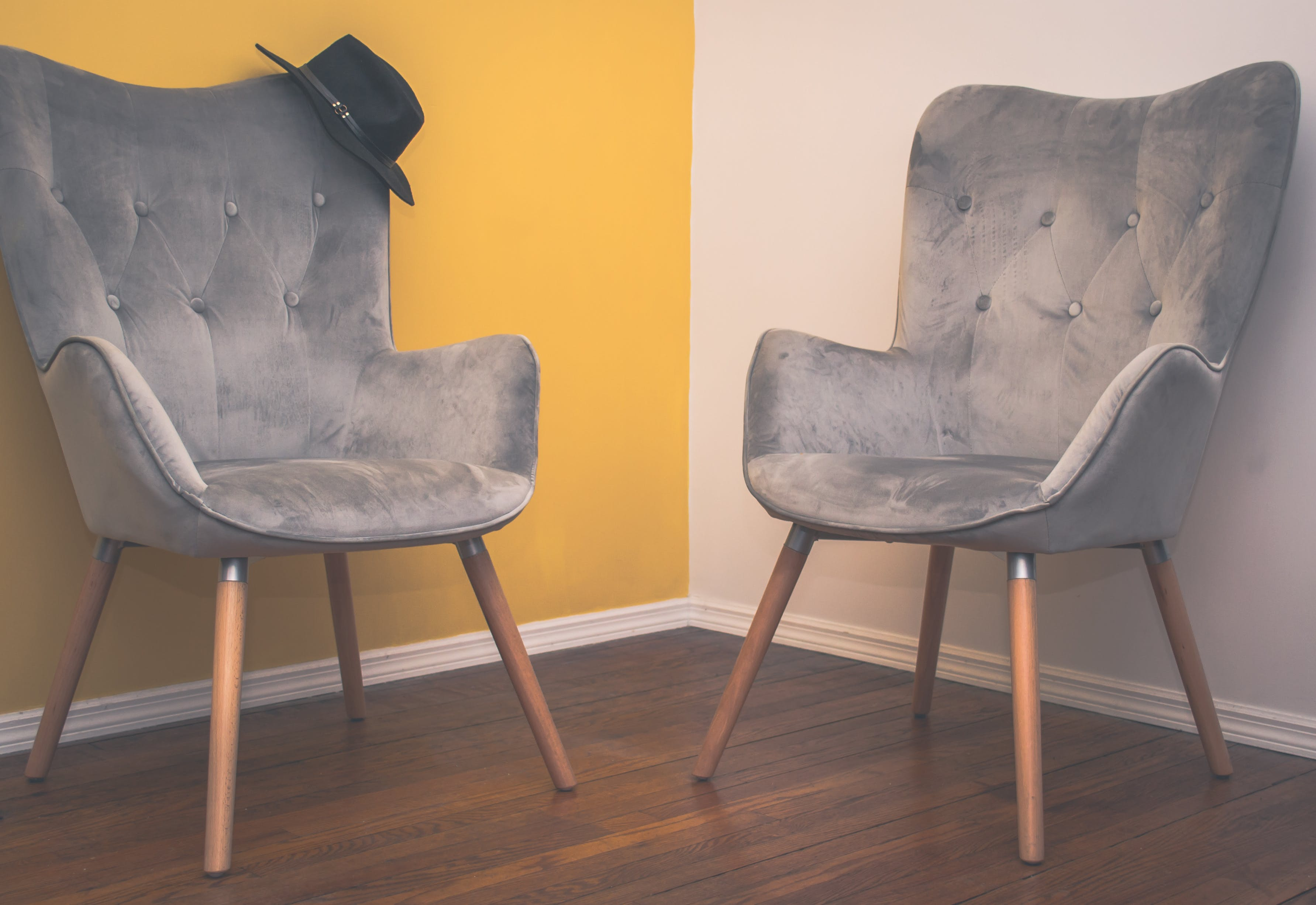 Two Suede Armchairs