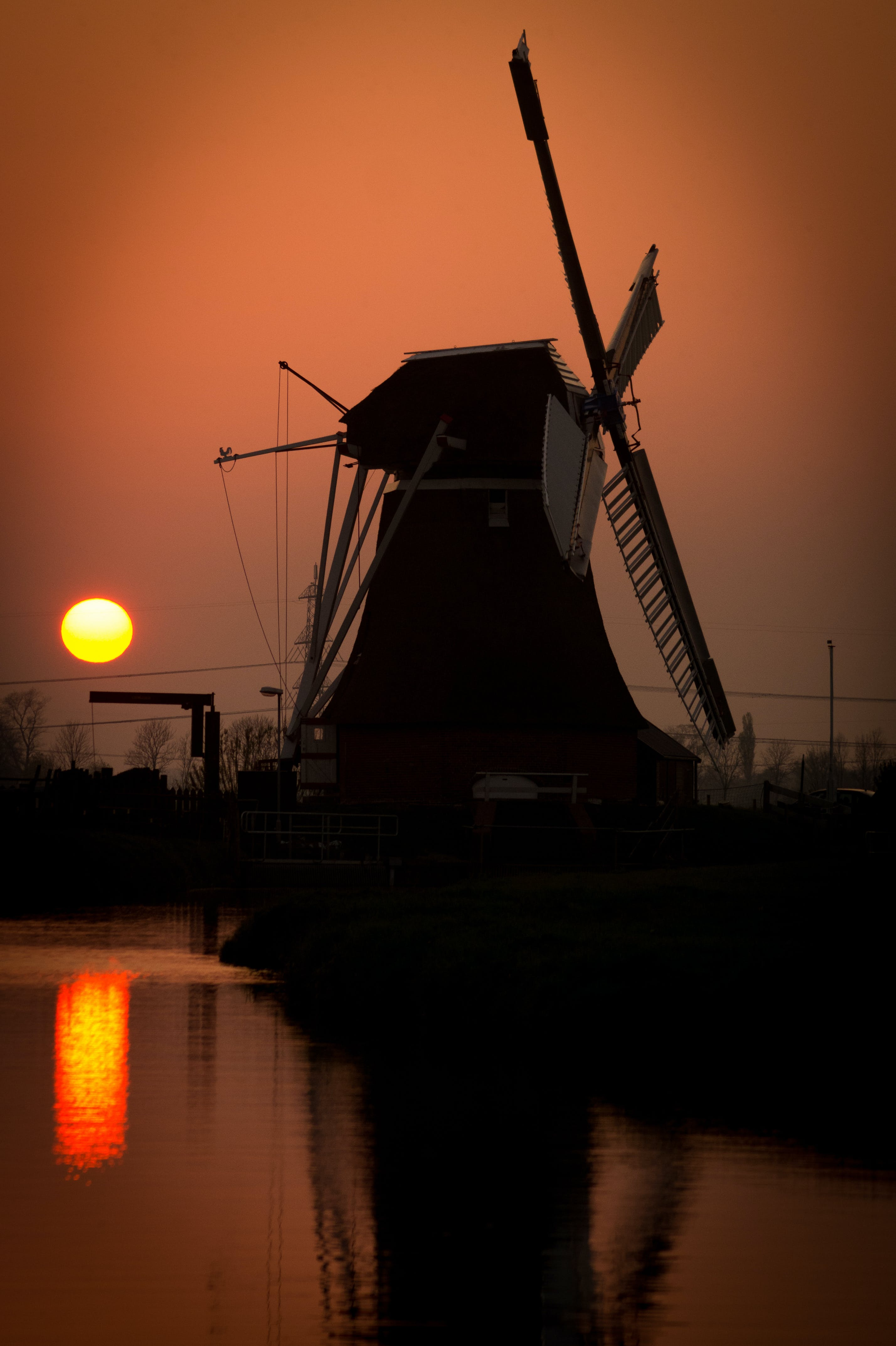 Silhouette of Watermill