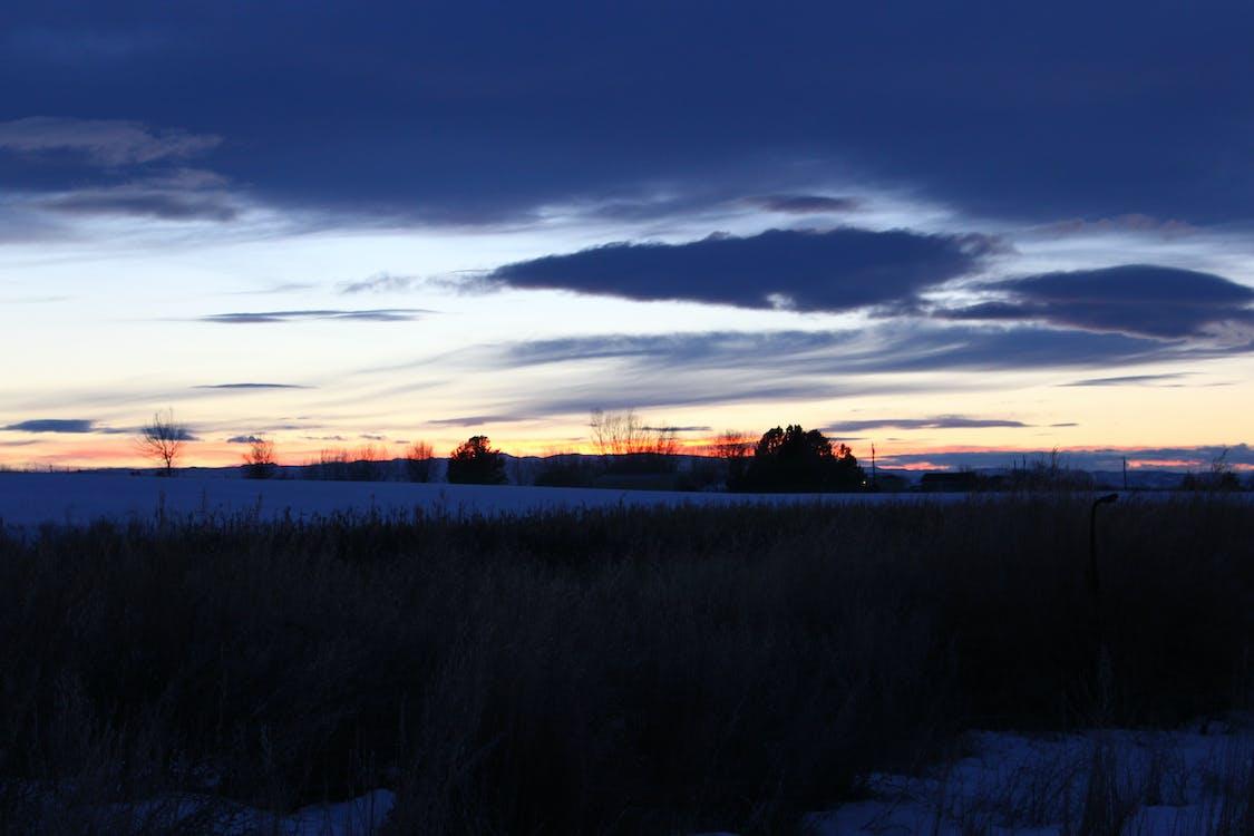 Land, solnedgång, vinter