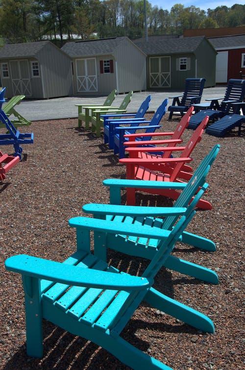 いす, 木製の椅子, 海辺, 着色されたの無料の写真素材