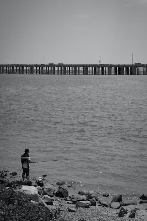 Free stock photo of black and white, fishing, men