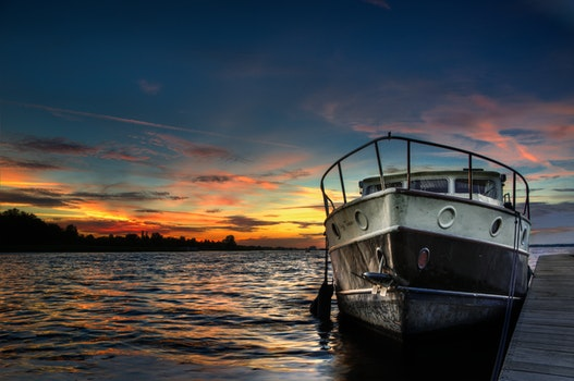 Free stock photo of sunset, boat, twilight, lake
