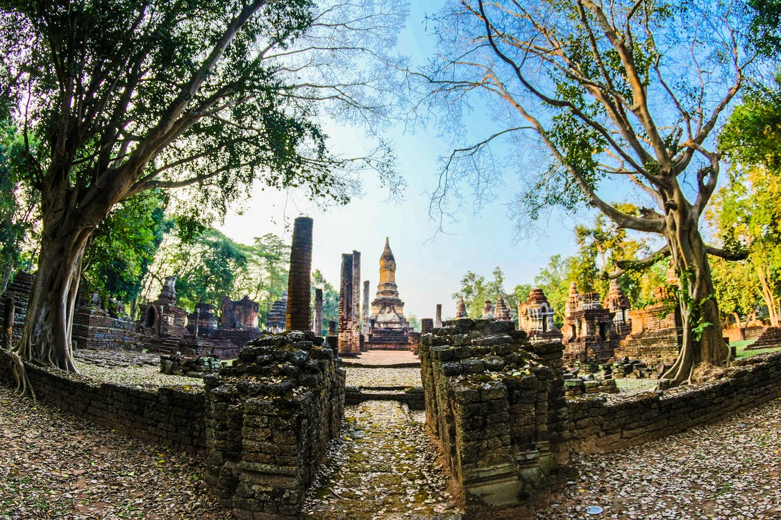 Fish Eye Lens Pathway Along the Temple