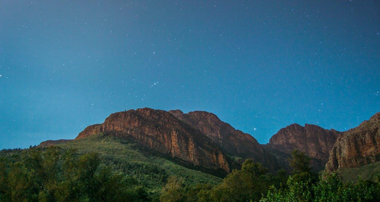 dağlar, doğa, gece